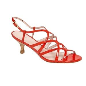 Stuart Weitzman Red Patent Caged Stripy Heels